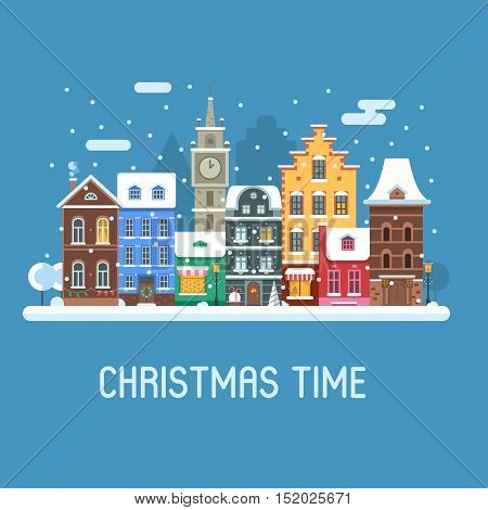 Snowy Christmas street flat landscape with colorful european houses and New Year decorations. Christmas europe city winter day background with old town building facades and snowfall.