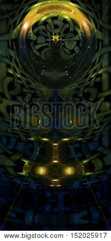 mystical cosmic scenery with celtic ornament structure