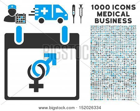 Blue And Gray Marriage Calendar Day vector icon with 1000 medical business pictograms. Set style is flat bicolor symbols, blue and gray colors, white background.