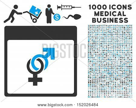Blue And Gray Marriage Calendar Page vector icon with 1000 medical business pictograms. Set style is flat bicolor symbols, blue and gray colors, white background.