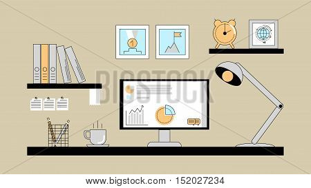 The workspace with a desktop computer. Vector flat line