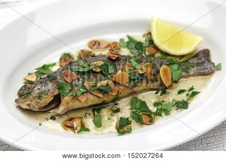 trout meuniere amandine, rainbow trout with brown butter and almonds