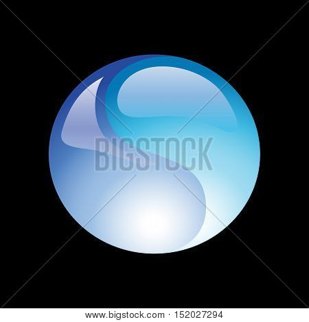 Water ball element icon on a black background. Vector illustration