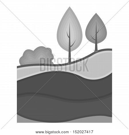 Layers of the earth icon in monochrome style isolated on white background. Mine symbol vector illustration.