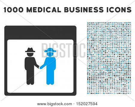 Blue And Gray Men Handshake Calendar Page vector icon with 1000 medical business pictograms. Set style is flat bicolor symbols, blue and gray colors, white background.