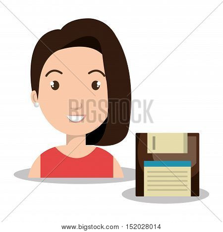 avatar woman smiling and diskette icon over white background. vector illustration