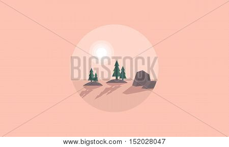Scenery spruce and rock silhouettes vetcor illustration