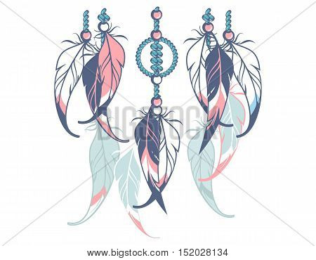 Native American Dreamcatcher protective amulet from the ropes and beads White background