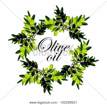 vector illustration of a wreath of olive branches of ripe black and green woven circle