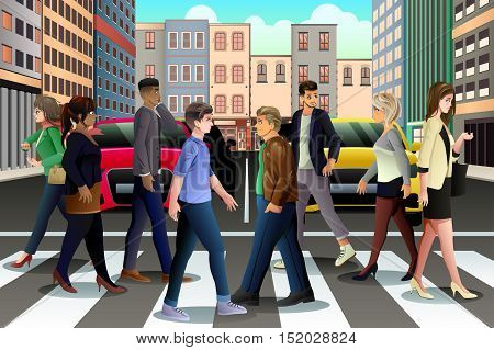 A vector illustration of City People Crossing the Street During Rush Hour