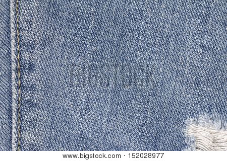 Denim jeans texture or denim jeans background with seam and old torn of fashion jeans design with copy space for text or image.