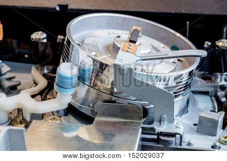 tape drive analog VCR shot close up