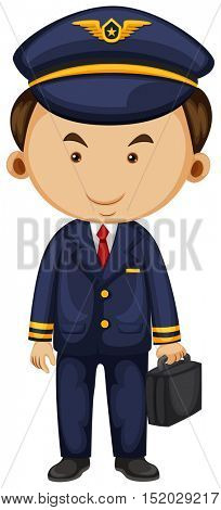 Pilot in blue suit carrying breifcase illustration