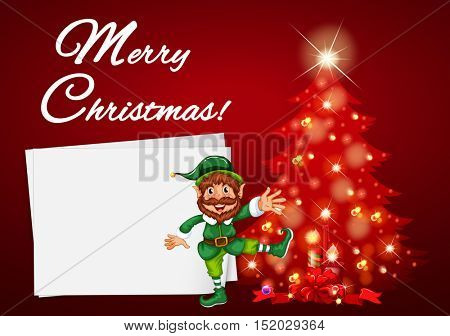 Christmas card with elf and red tree illustration