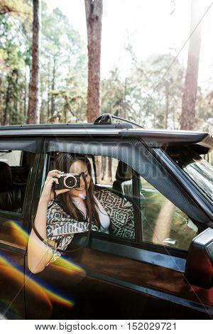 Photographer Camera Woman Shooting Car Vehicle Concept