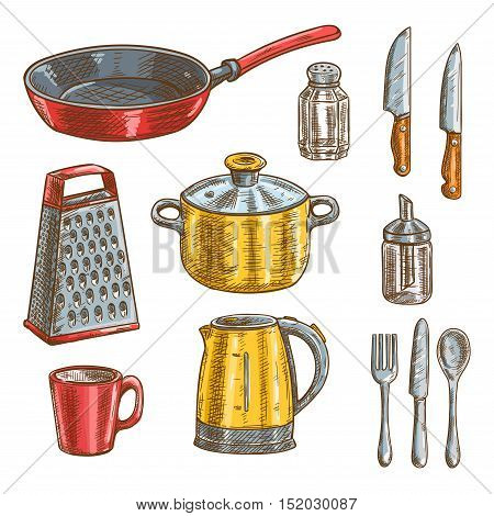 Kitchen and cooking utensils sketches of knife, spoon, fork, pot, frying pan, cup, grater, electric kettle, glass salt shaker and sugar dispenser