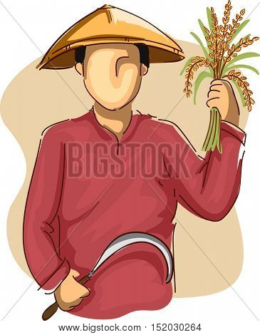 Illustration of an Asian Farmer in a Conical Hat Harvesting Rice with a Sickle