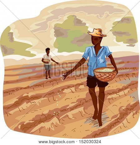 Illustration of a Farmer Carrying a Basket Scattering Seeds as He Move Around Rows of Cultivated Soil