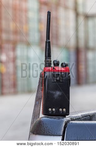 walkie-talkie radio on blur background,radio talking .