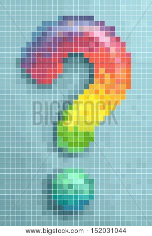 Conceptual Illustration Featuring the Mosaic of a Large Question Mark Made of Brightly Colored Pixels