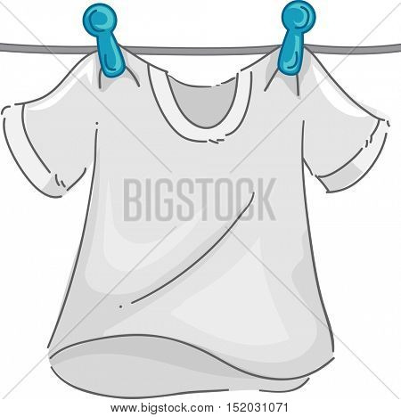 Illustration of a White T-shirt in a Clothesline Fluttering in the Wind as it Dries