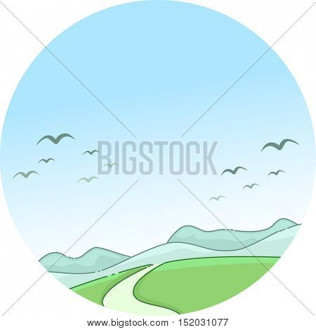 Whimsical Illustration of a Scenic Mountain Framed by Migratory Birds Flying Against a Clear Blue Sky