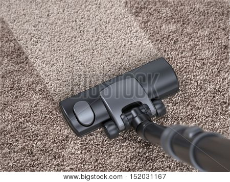 Vacuum cleaner cleans dirty carpet - house cleaning concept. 3d rendering