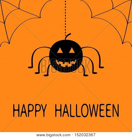 Cute cartoon black smiling pumpkin Hanging spider insect. Dash line rope web in the corner. Happy Halloween greeting card. Flat design. Orange background. Vector illustration