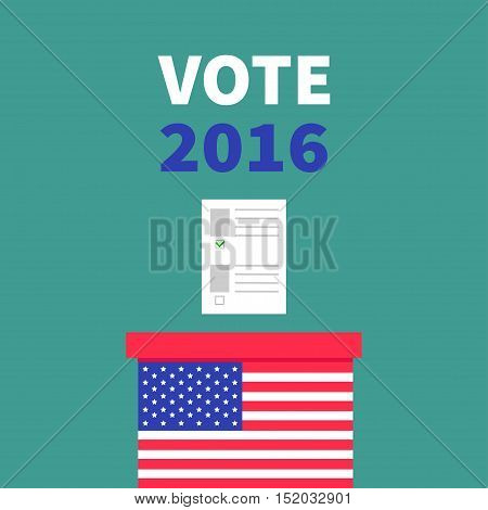 American flag Ballot Voting box with paper blank bulletin concept. Polling station. President election day Vote 2016. Isolated Green background Flat design Card. Vector illustration