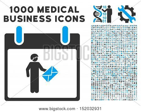 Blue And Gray Postman Calendar Day vector icon with 1000 medical business pictograms. Set style is flat bicolor symbols, blue and gray colors, white background.