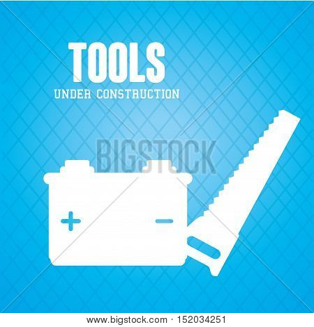 saw steel carpentry tool and power battery icon. under construction design. vector illustration