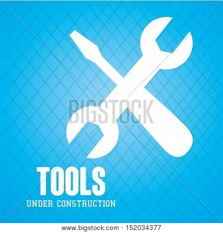 screwdriver with wrench crossed over blue background. under construction tools. vector illustration