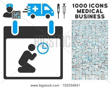 Blue And Gray Pray Time Calendar Day vector icon with 1000 medical business pictograms. Set style is flat bicolor symbols, blue and gray colors, white background.