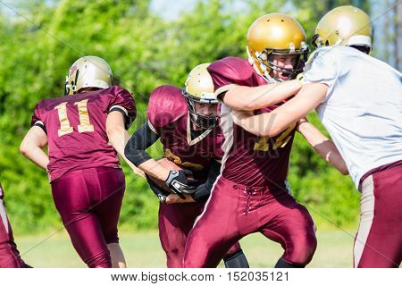 Defense after pass at American Football Game