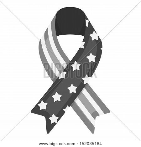 Patriotic ribbon icon in monochrome style isolated on white background. Patriot day symbol vector illustration.