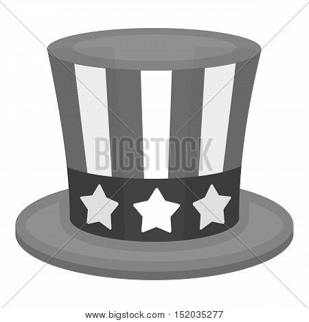 Uncle Sam's hat icon in monochrome style isolated on white background. Patriot day symbol vector illustration.