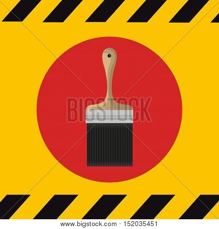 paint brush  over red circle and yellow background. construction tools design. vector illustration