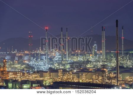 night view of the industrial area ,industrial oil and gas.