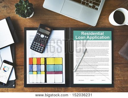 Residential Loan Application Assets Concept