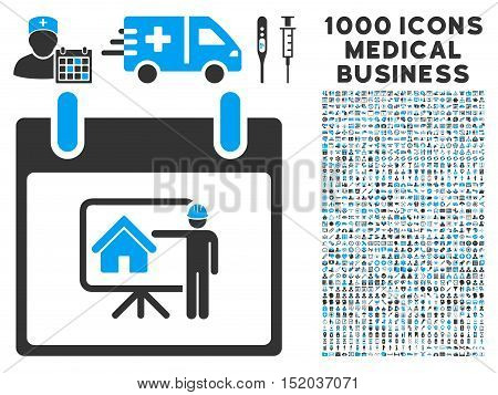 Blue And Gray Realty Developer Calendar Day vector icon with 1000 medical business pictograms. Set style is flat bicolor symbols, blue and gray colors, white background.