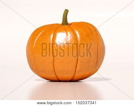 Whole Fresh Halloween Orange Pumpkin On White Background, Design Element For Poster And Backgrounds. Happy Halloween Decorative Pumpkin Detail Up Close For Halloween, Happy Halloween