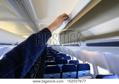 White Empty  Luggage Panel In Airplane