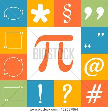 Text Icons Colorfull Set. Flat Style Vector Illustration