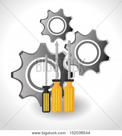 screwdrivers with yellow handle and gears icon over white background. vector illustration