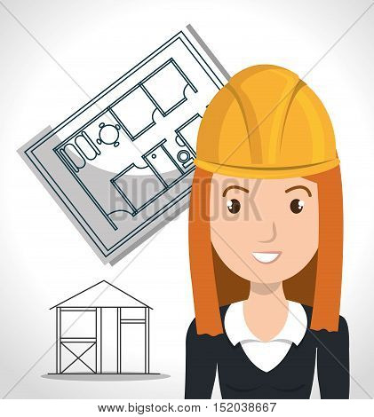 avatar woman smiling architect with yellow helmet safety equipment and architecture  construction plans over white background. vector illustration