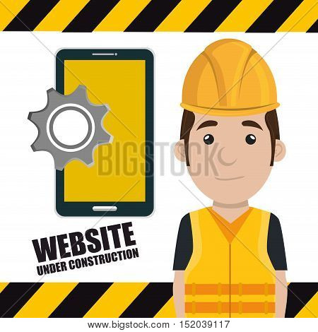 avatar construction worker smling  with yellow helmet safety equipment and smartphone with gear icon. vector illustration