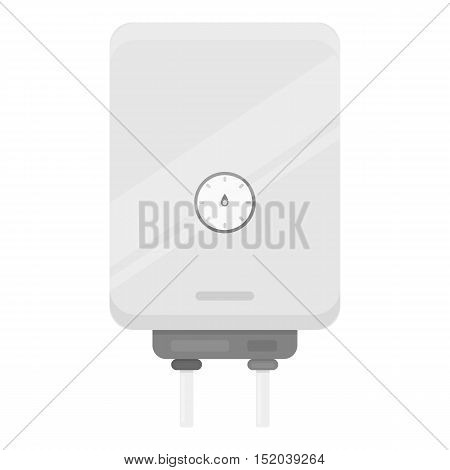 Boiler icon in monochrome style isolated on white background. Plumbing symbol vector illustration.