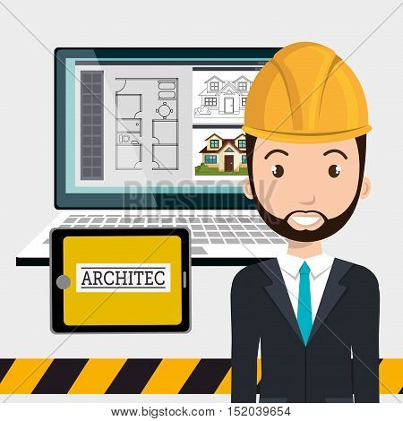 avatar architect man smiling with yellow helmet safety equipment and architecture  construction digital plans on monitor computer screen over white background. vector illustration