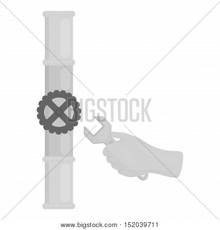 Wrench and valve icon in monochrome style isolated on white background. Plumbing symbol vector illustration.