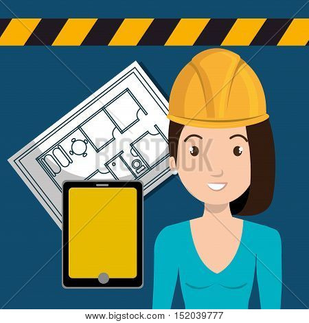 tablet and avatar woman smiling architect with yellow helmet safety equipment and architecture  construction plans. vector illustration